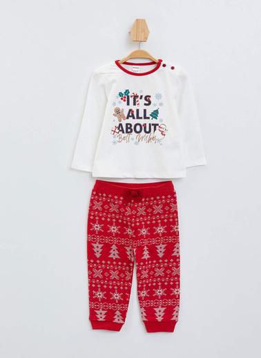 DeFacto Kız Bebek Yeni Yıl Temalı Pijama Takımı Ekru